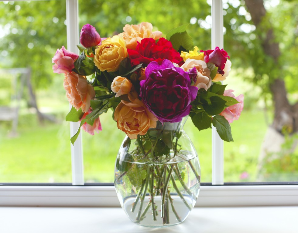 large vase with colorful roses