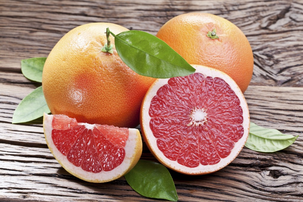 Grapefruits with leaves.
