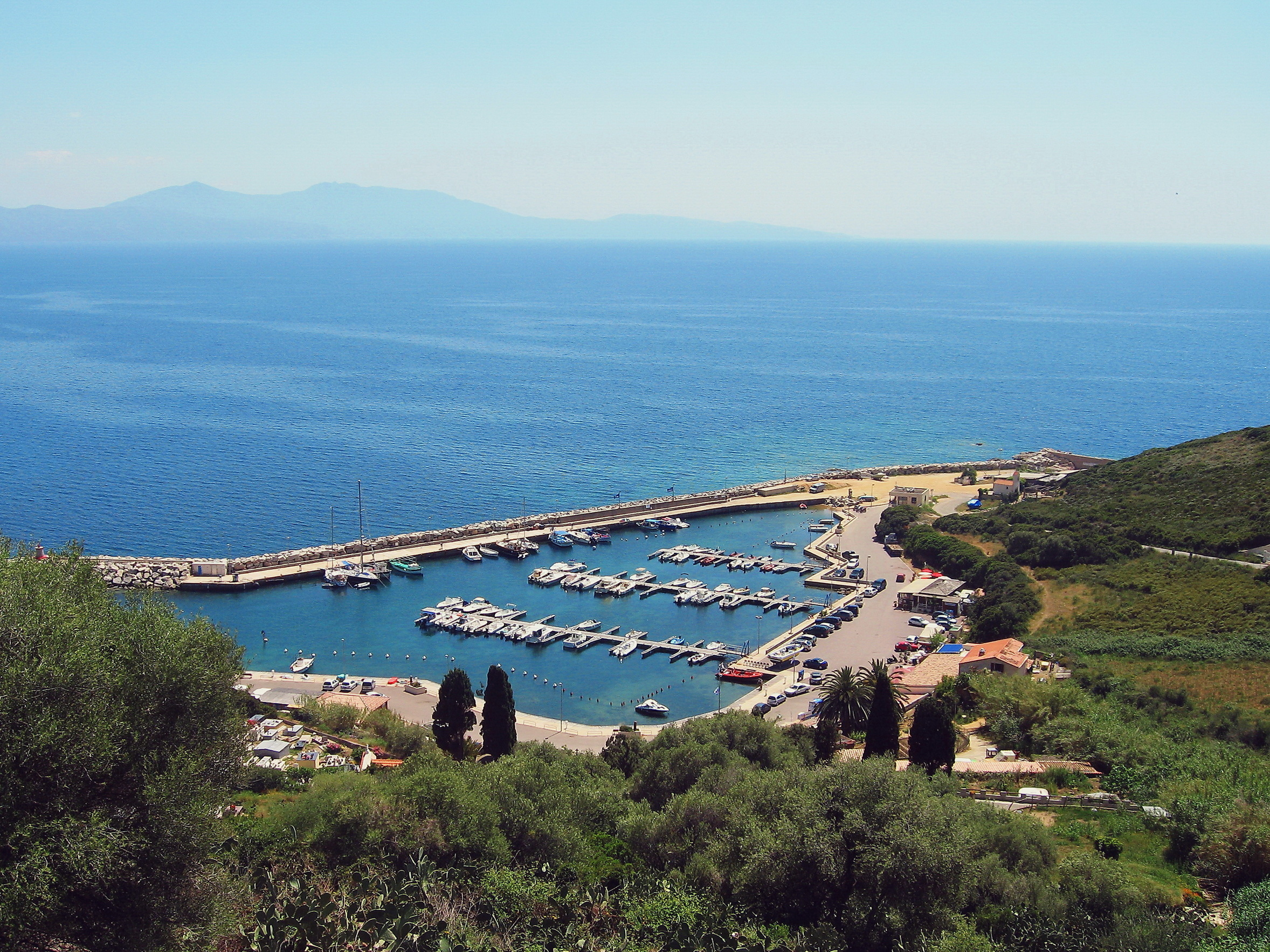 Top view of harbor near Cargese, Corsica island, France