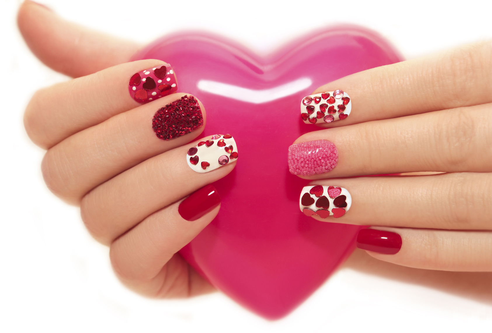 Manicure with hearts