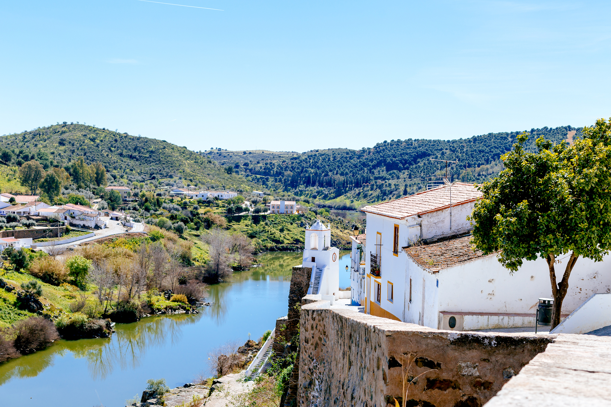 View of Mertola Town and the Guadiana River, Portugal.
